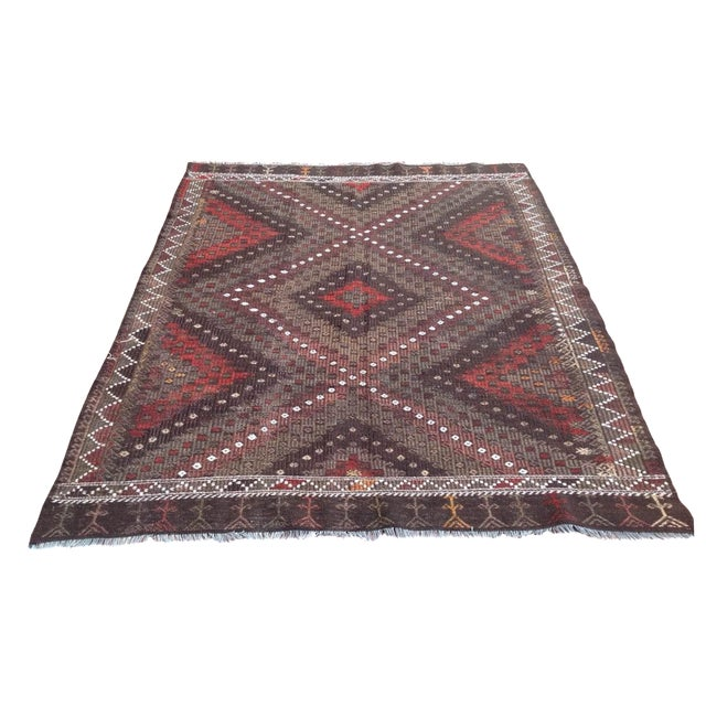 Vintage Turkish Kilim Rug - 5′7″ × 7′2″ - Image 1 of 7