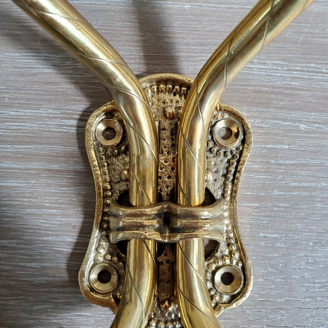 Boho Chic Double Arm Brass Coat Hook With Porcelain Knobs For Sale - Image 3 of 7