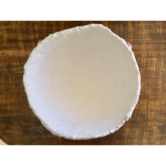 Modern White Raw Plaster Decorative Round Bowl For Sale In Palm Springs - Image 6 of 8