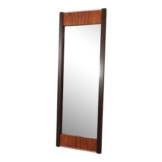Baughman Style Mid-Century Modern Mirror in Walnut, Rosewood, and Chrome Frame For Sale