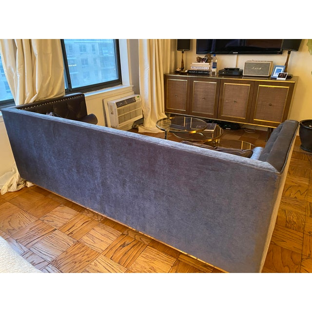 American Modern Charcoal Grey Velvet Chesterfield Sofa For Sale - Image 3 of 4