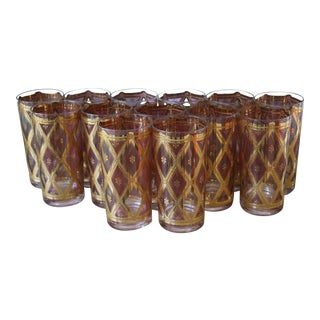 Vintage Set of 13 Culver Highball Glasses With 22-Karat Gold Design For Sale
