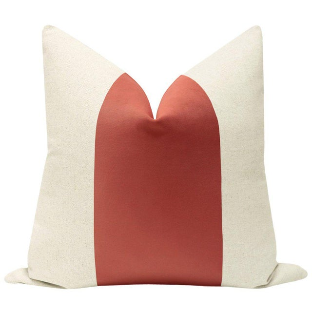 """Pair of beautiful 22"""" natural linen pillows with a Coral velvet center and solid natural linen reverse. Meticulously..."""