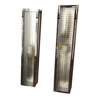 Industrial Style Wire Grid Glass Light Fixtures - a Pair For Sale