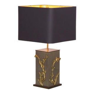 Huge Bronze Algue or Corail Table Lamp by Maison Charles, Signed For Sale