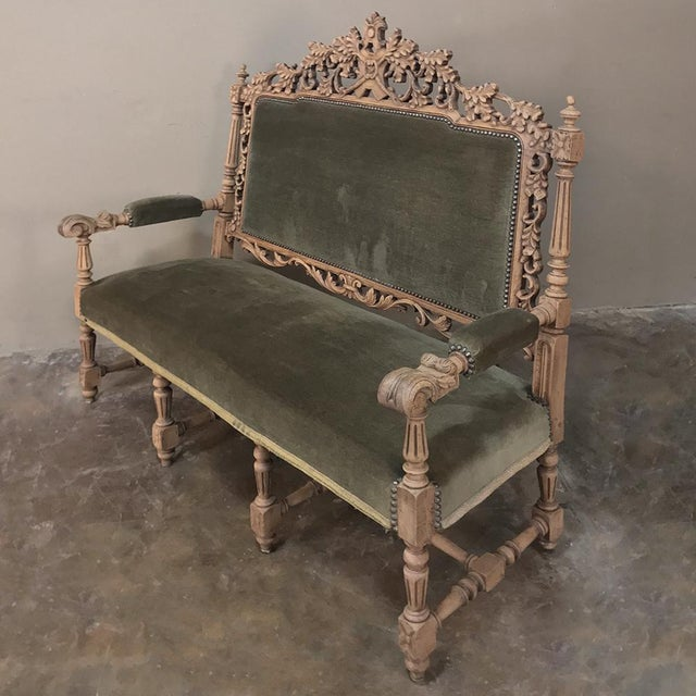 19th Century Black Forest Stripped Oak Hunt Sofa For Sale - Image 10 of 13