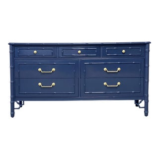 Thomasville Allegro Faux Bamboo 7 Drawer Lacquered Navy Blue Dresser For Sale