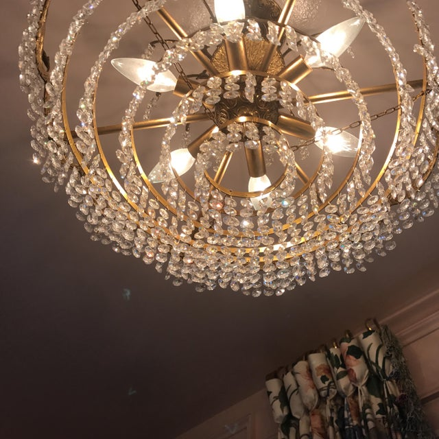 Art Deco Crystal and Brass Light Fixture - Image 6 of 7