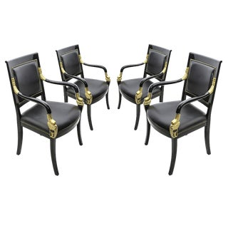 Set of 4 Empire Lacquered Fauteuils For Sale