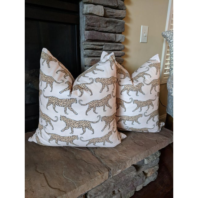 Abstract Boho Chic Blush Leopard Pillows - a Pair For Sale - Image 3 of 3