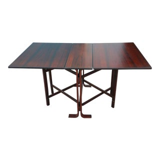 70's Norwegian Westnofa Rosewood Drop Leaf Dining Table For Sale