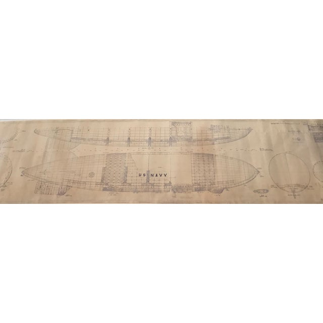 Vintage U.S. Navy Airship Blueprint For Sale - Image 10 of 11