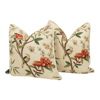 Peony & Blossom Chinoiserie Pillows, Pr For Sale