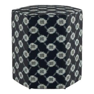 Hexagonal Ottoman in Lattice Shibori For Sale