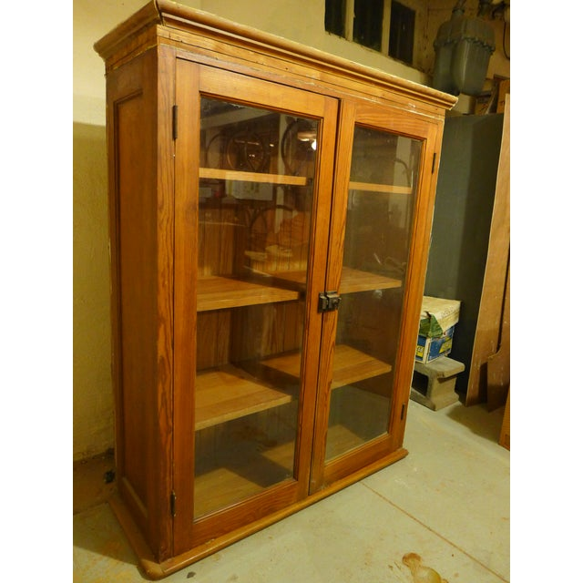 Glass Antique Upper Kitchen Cabinet For Sale - Image 7 of 7