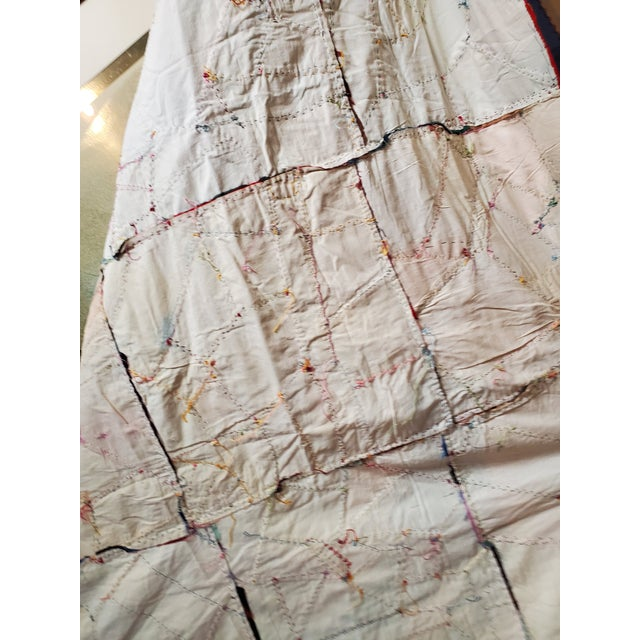 Antique American Crazy Quilt, Patchwork of Geometric Colors For Sale - Image 10 of 11