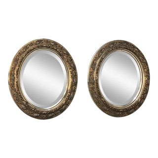 Pair Antique French Louis XVI Oval Beveled Mirrors For Sale