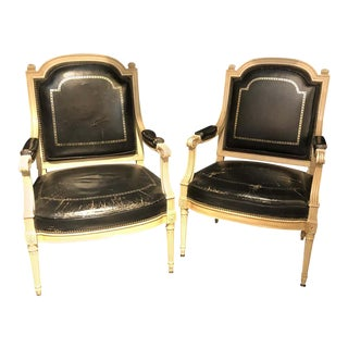 Stamped Jansen Bergères/ Armchairs Black Tooled Leather Upholstery - a Pair For Sale