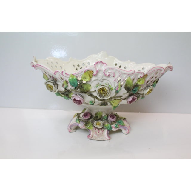 Art Nouveau Early 20th Century Floral Pottery Footed Boat For Sale - Image 3 of 7