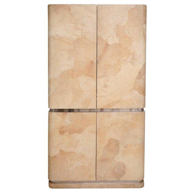 Rare Karl Springer Goatskin, Stainless Four-Door Tall Cabinet For Sale