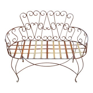 Vintage French Victorian Style Wrought Iron Heart Back Garden Settee For Sale