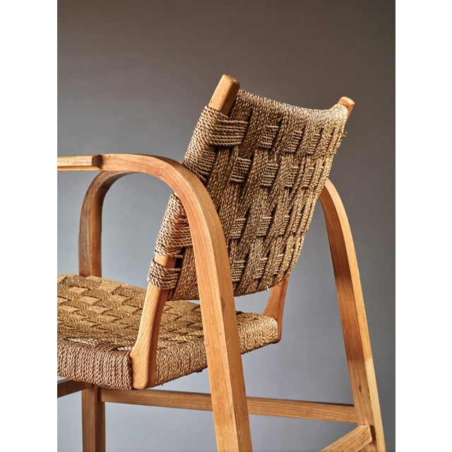 Fritz Hansen Magnus Stephensen Pair of Bent Beech and Seagrass Armchairs, Denmark, 1930s For Sale - Image 4 of 4
