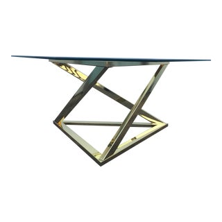 Sculptural Brass Triangle Coffee Table For Sale