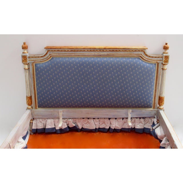 Metal Vintage 19th. Century French Napoleonic Parcel Gilt Painted Full Size Bedframe For Sale - Image 7 of 13