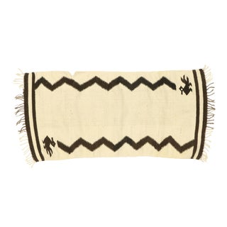 Vintage Santa Fe Kilim Rug With Two Grey Hills Style - 01'11 X 04'00 For Sale