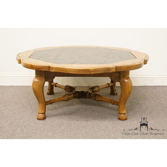 """Wood Thomasville Furniture Chateau Provence Collection 42"""" Slate Top Coffee Table For Sale - Image 7 of 11"""