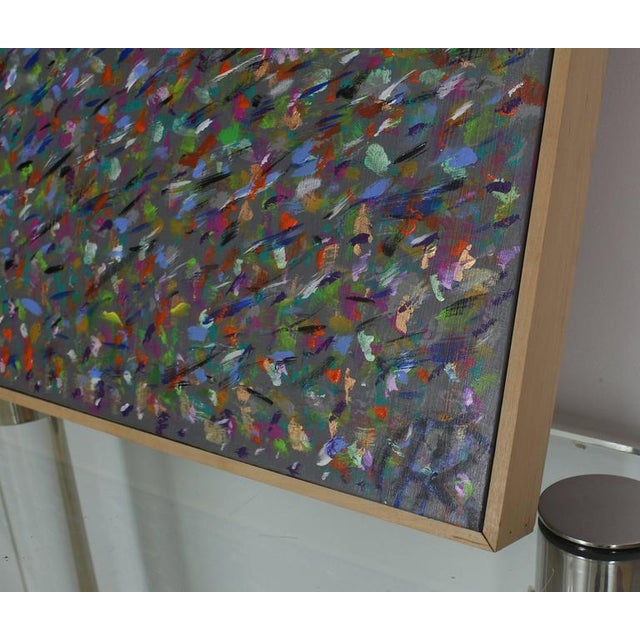 Square Abstract Modern Painting Artist Signed Herman Kahan For Sale - Image 4 of 8