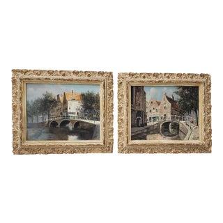 """Jacobus Lambertus Dispo Sr (1890 - 1964) """"Scenes of Amsterdam"""" Original Oil Paintings C.1930s - a Pair For Sale"""