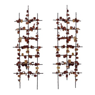 Pair of Mid-Century Bronze Sconces by Jean Mahon
