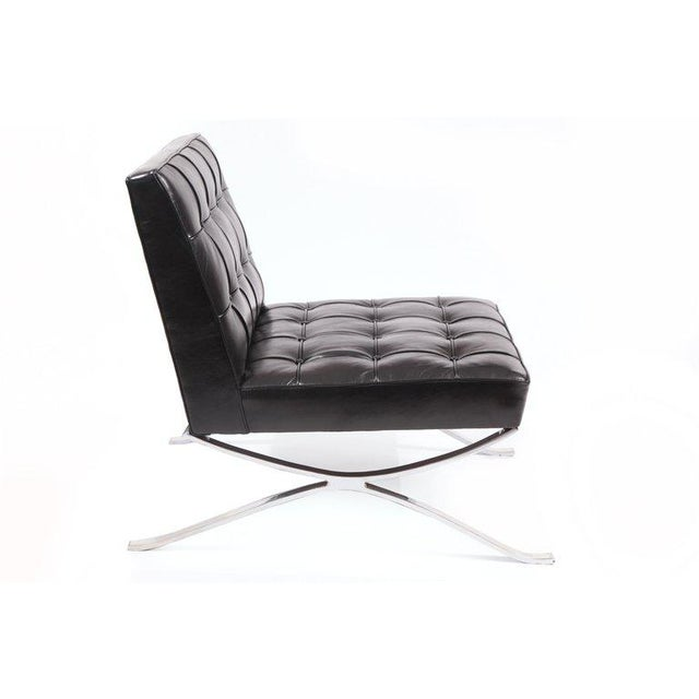 Mid-Century Modern Rare Pair of Steel and Leather Lounge Chairs by Hans Kaufeld For Sale - Image 3 of 8