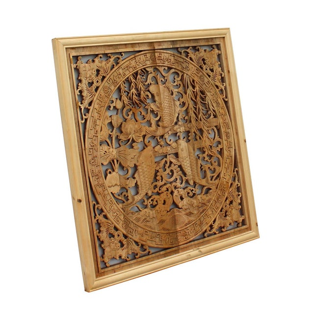 Asian Chinese Square Flower Fishes Wooden Wall Plaque Panel For Sale - Image 3 of 5
