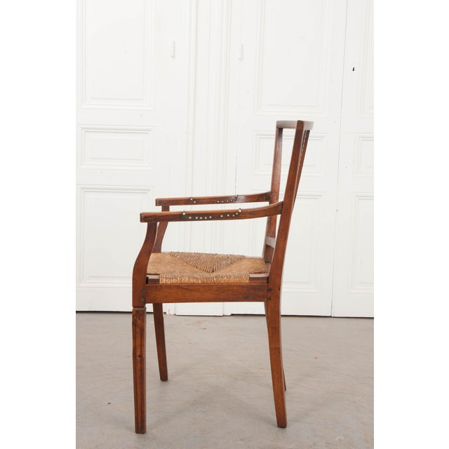 French French 19th Century Louis XVI Style Rush-Seat Armchair For Sale - Image 3 of 9