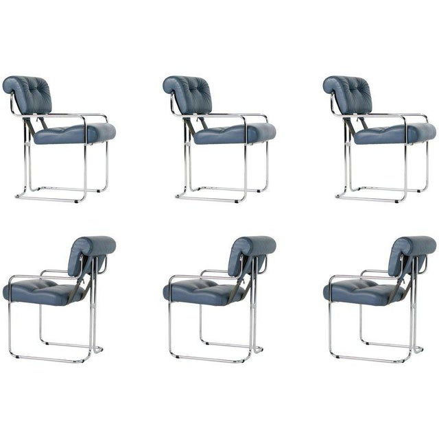 Blue-Grey Leather Tucroma Chair by Guido Faleschini for I4 Mariani- Set of 6 For Sale - Image 13 of 13