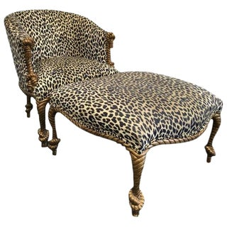 Napoleon III Style Gilded Leopard Print Rope and Tassel Chair and Ottoman For Sale