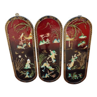 Asian Oriental Wall Plaques - Set of 3 For Sale