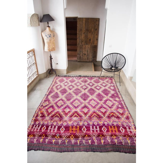 "Tribal Vintage Purple Beni Mguild Moroccan Rug - 8'11"" X 6'5"" Ft For Sale - Image 3 of 12"