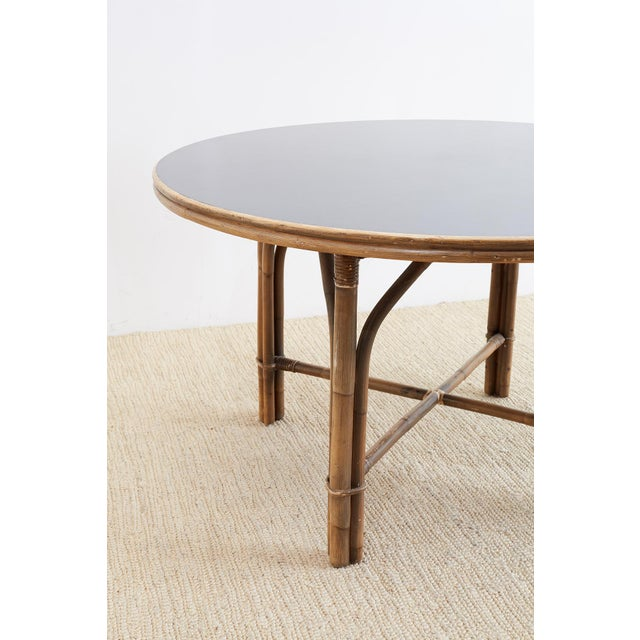 Wood Ficks Reed Midcentury Rattan Dining Table For Sale - Image 7 of 13