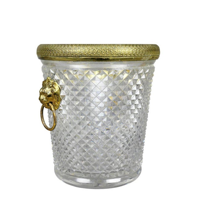 French Cut Crystal Bottle Holder or Ice Pail For Sale - Image 9 of 9