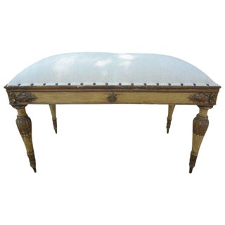 1920's Vintage Italian Neoclassical Style Upholstered Bench For Sale