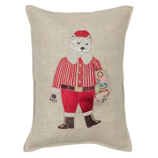 Contemporary Linen Polar Bear Santa Pocket Pillow For Sale
