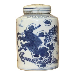 Chinese Blue White Ceramic Dragon Graphic Container Urn Jar For Sale