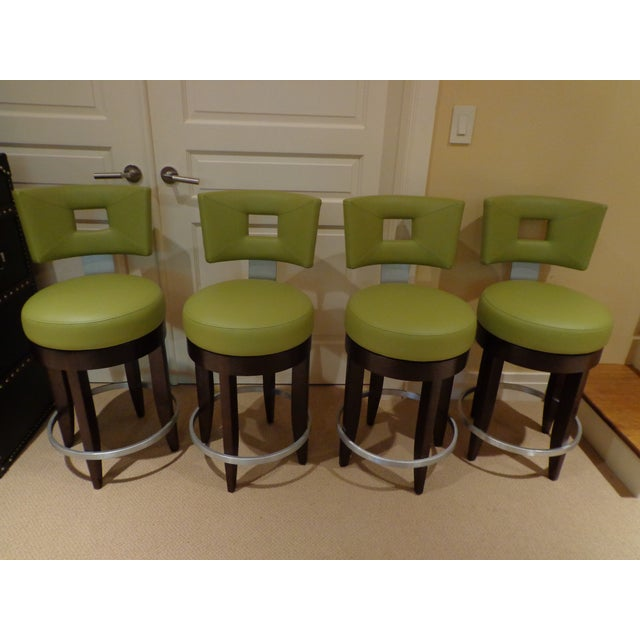 David Edward Barstools With Faux Leather Seats - 4 - Image 2 of 8