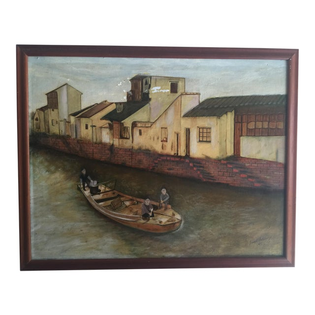 Boat on a Bejing Canal Oil Painting by Joseph Feldmen For Sale