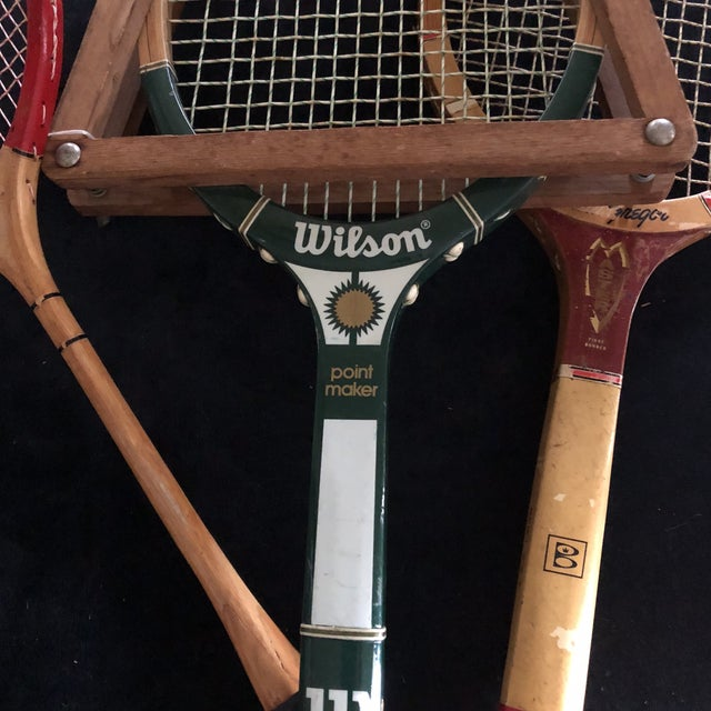 Collection of Antique Tennis Rackets - Set of 4 For Sale - Image 4 of 9