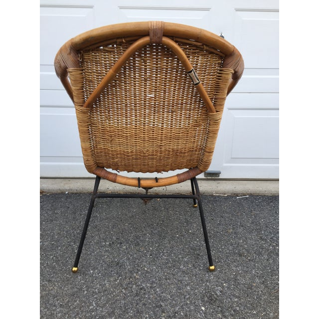 Gold Calif-Asia Bamboo and Wicker Arm Chair For Sale - Image 8 of 12