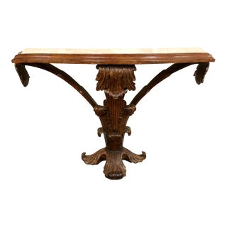 Italian Carved Wood Rococo Travertine Top Console